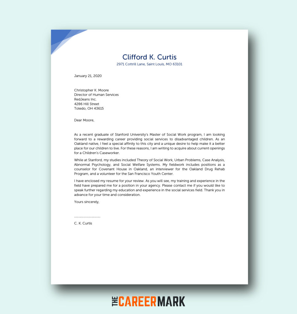 Cover Letter Examples Social Work from thecareermark.com