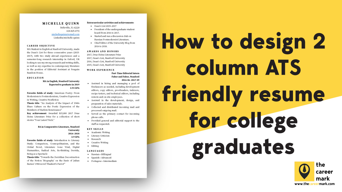ATS friendly two column resume template for students, college graduates (FREE DOWNLOAD)