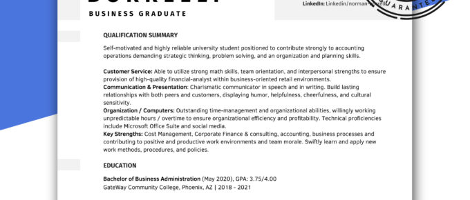 ats recent graduate resume template
