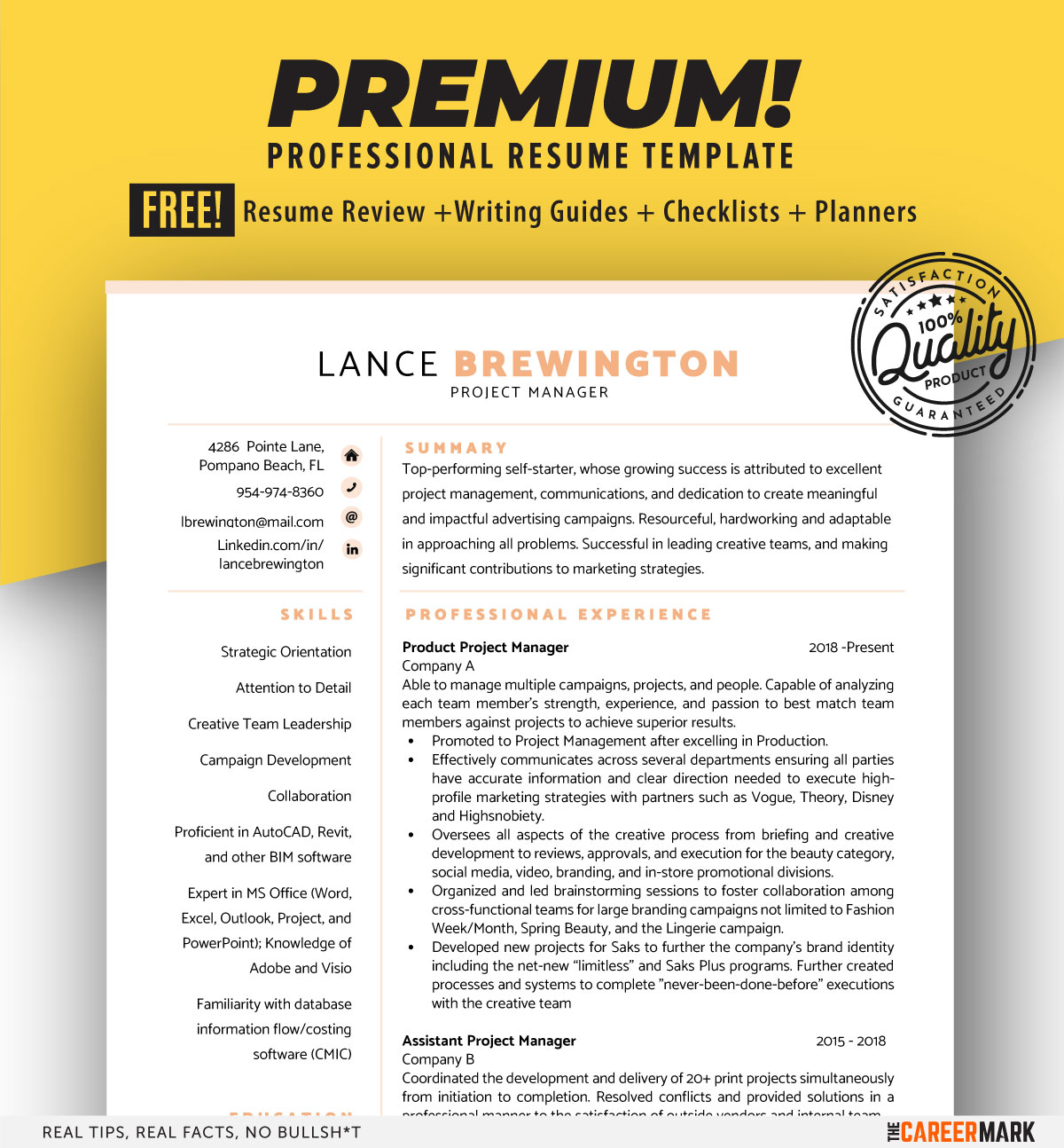 ATS friendly project manager resume template
