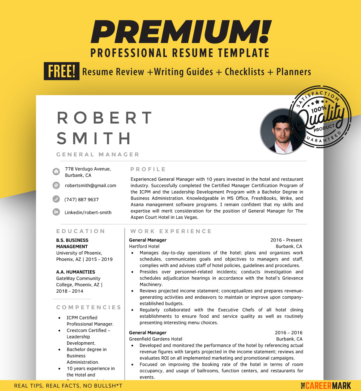 General Manager Modern Resume Template for Word