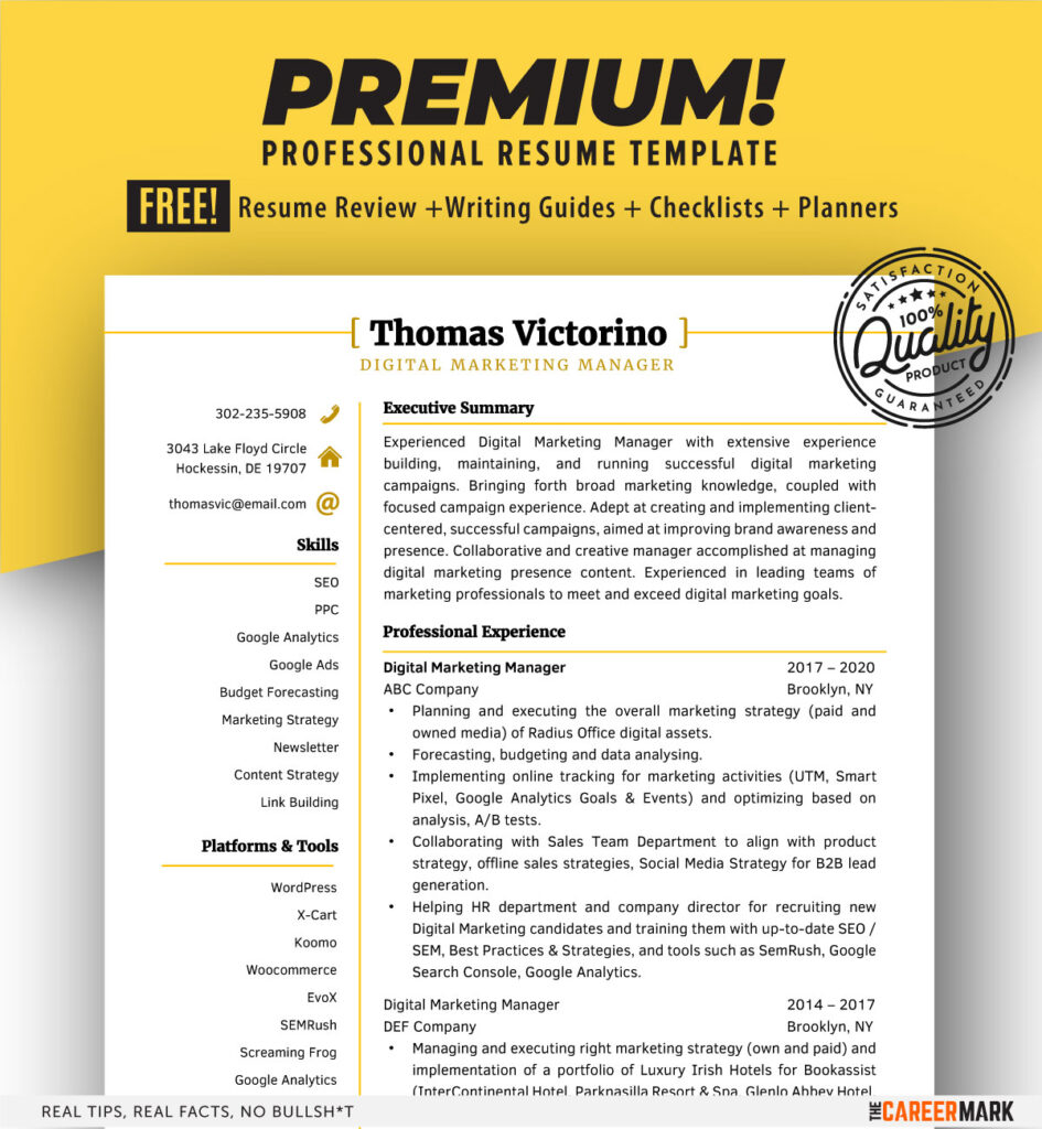 ATS Friendly Manager Resume Template