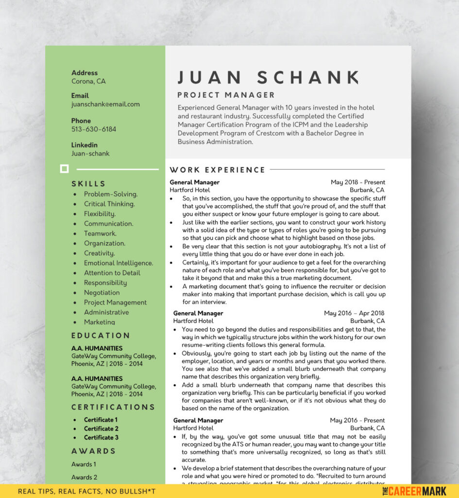 ATS Friendly One Page Resume Template for Word (Free Download)