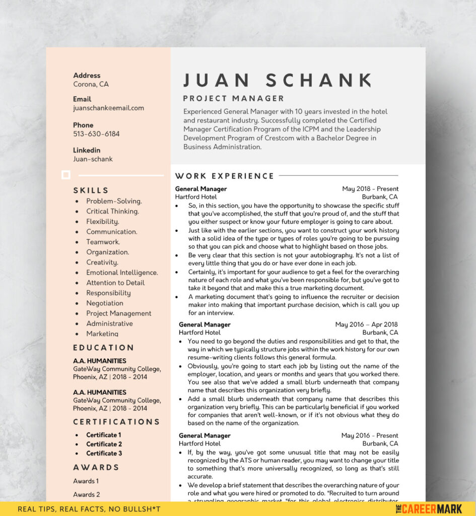 Modern Resume Template Free Download The Career Mark