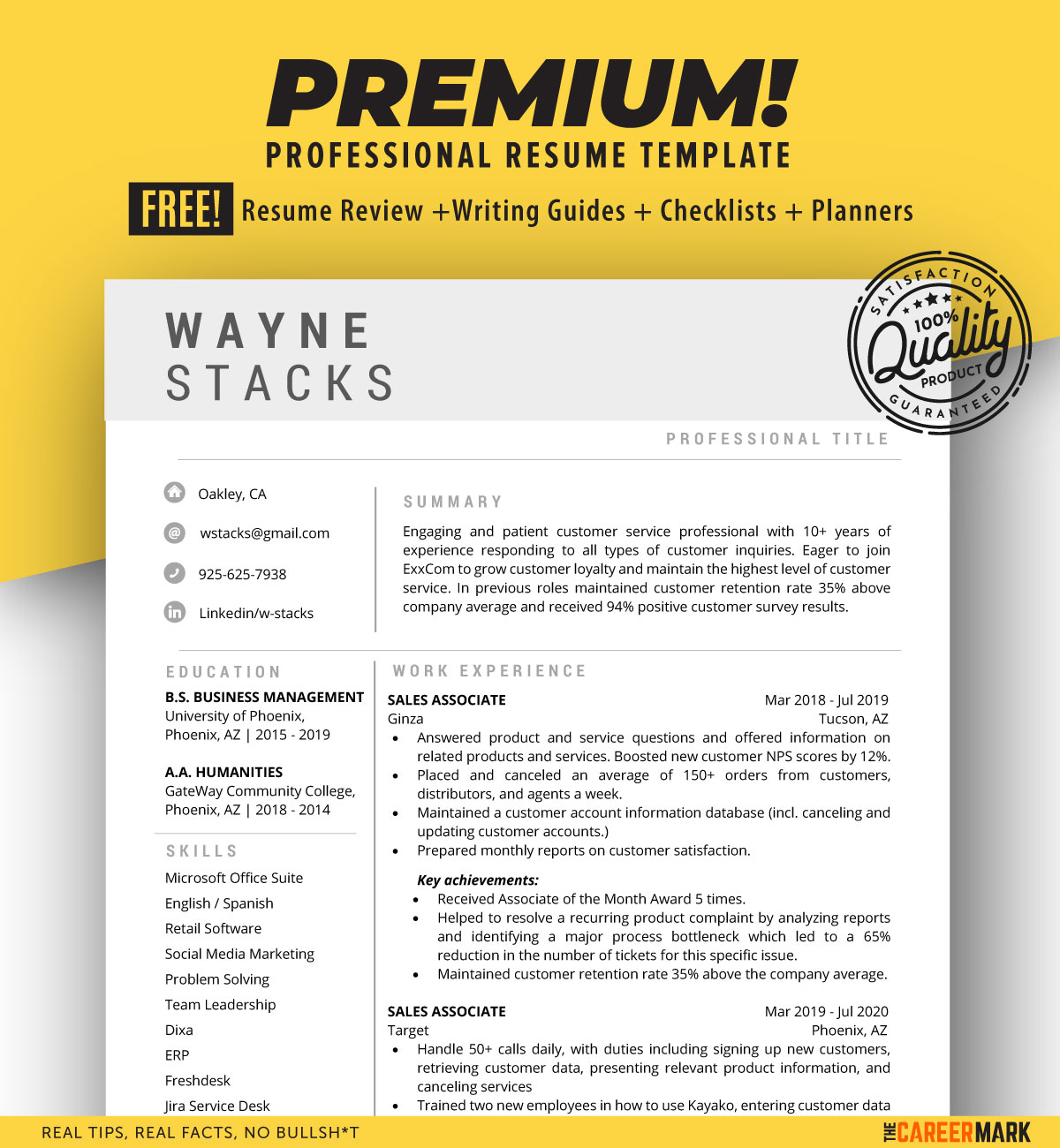 ATS friendly Resume Template for Word   Instant Download
