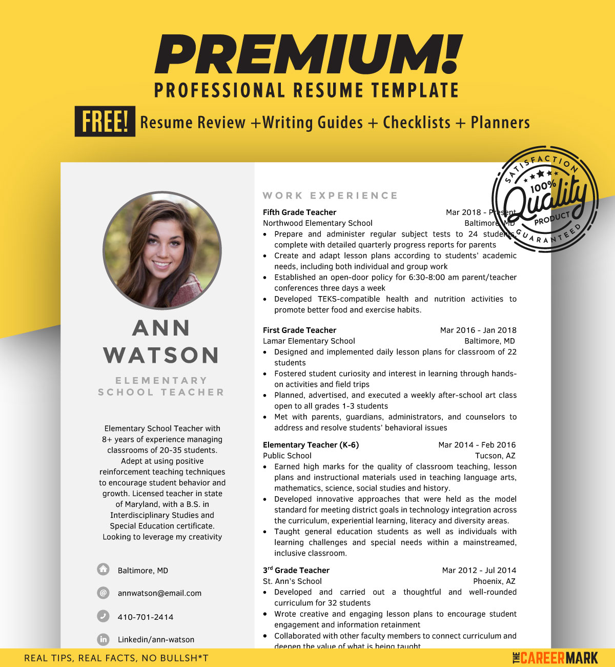 ATS friendly School Teacher Resume Template for Word | Instant Download