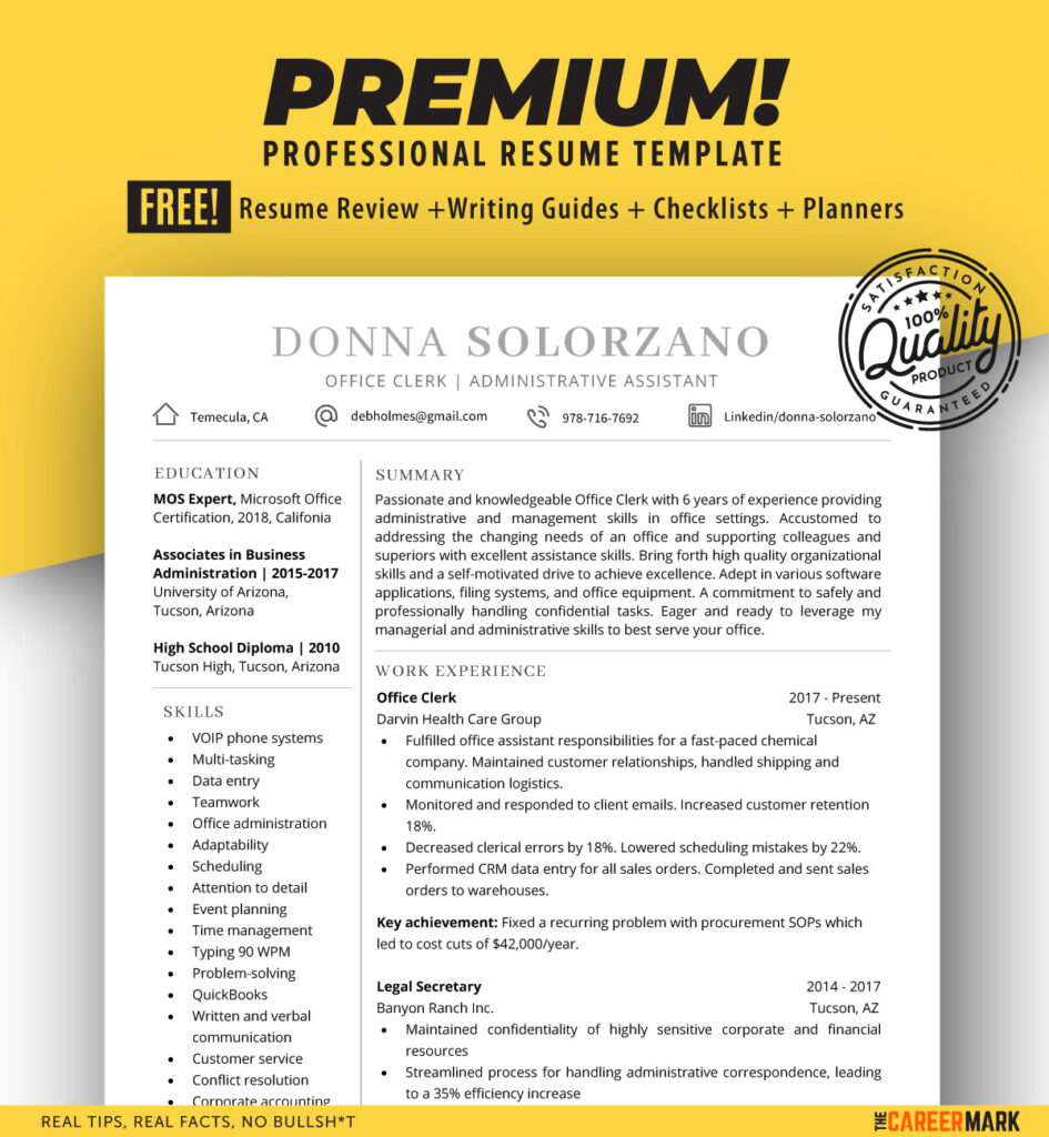 Resume Template for Word | Clerk | Instant Download