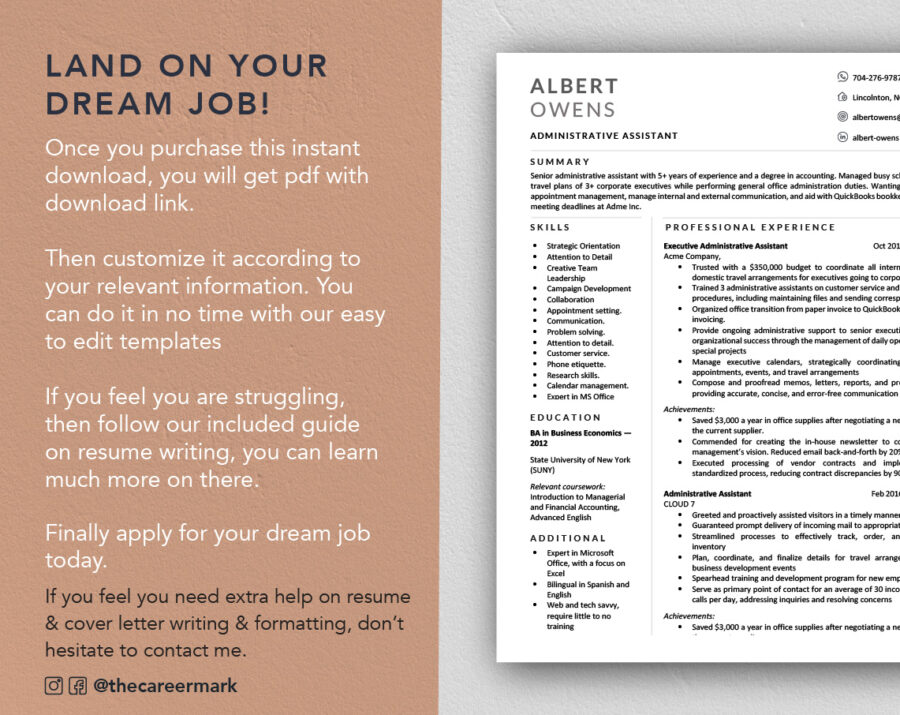 Modern Resume Template for Word & Mac Pages,