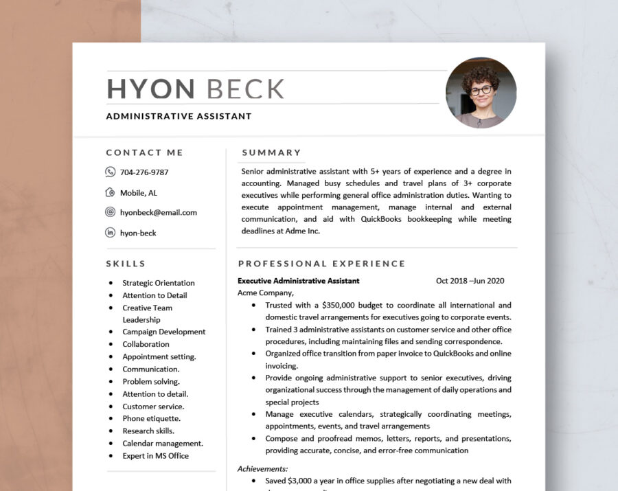 Modern Resume Template Word & Mac Pages