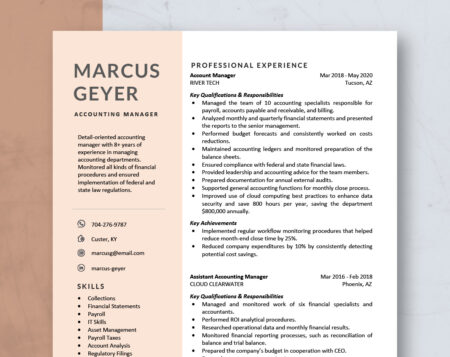 modern accounting resume template