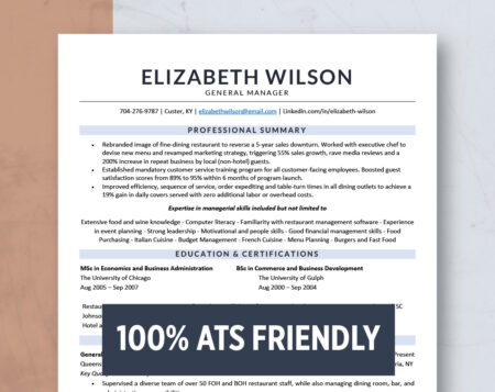modern professional manager resume