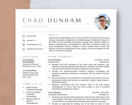 manager resume template with photo